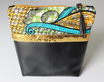 Clutch, pouch Wax and faux leather with Golden glitter