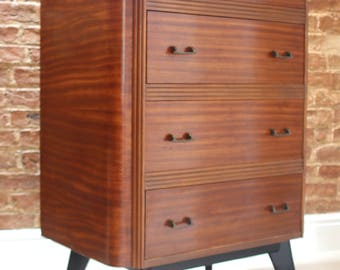 Striking Mid Century HomeWorthy Drawers/Tallboy with Black Accents