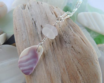 Wampum Shell And Sea Glass Necklace, Authentic Sea Glass
