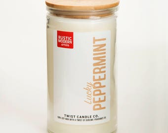 Lucky Peppermint 18oz Soy Wax Candle