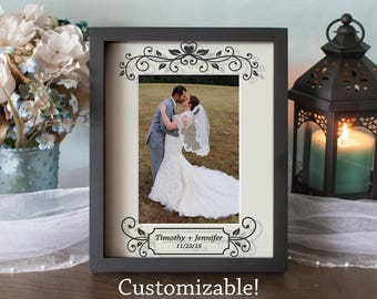 Custom Wedding Picture Frame - Anniversary Frame - Shadow Box - Vinyl on Glass - 8x10 - 11x14