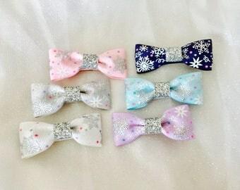 Snowflake hair bows snowflake hair clips baby hair bows baby hair clips baby barrettes infant mini hair bows girls hair bows