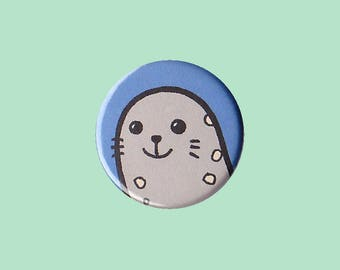 Seal Badge - seal pin, seal button, cute grey seal, kid's button, children's badge, cute button
