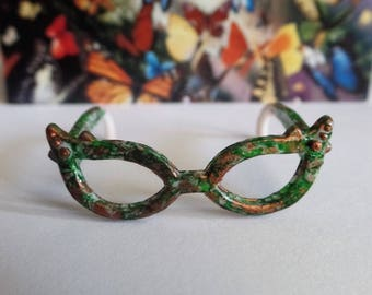Custom painted woodland doll cat eye glasses, Monster High Ever After camo glam doll eyewear, doll clothing and accessories made in USA