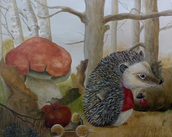 Autumn Hedgehog - original acrylic painting - painting