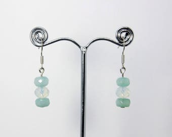 Faceted aquamarine and moonstone silver plated drop earrings