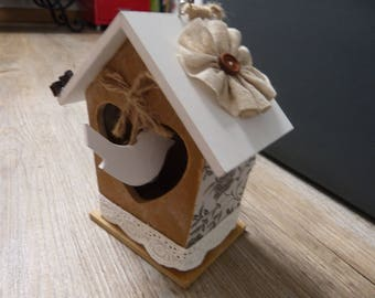Box has wooden birds & lace