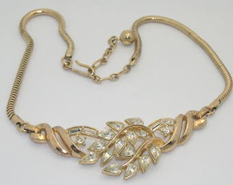 Vintage Crown Trifari Pear-Shaped Rhinestone Choker Necklace