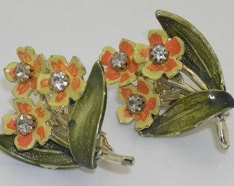 Vintage Coro Enamel & Rhinestone Flower Clip Earrings
