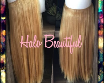 "HALO HAIR EXTENSIONS (14"" Length) 100% Human Hair Extensions, One Piece, Hidden Wire, Flip in Hair Extensions, Adjustable Wire Extensions"