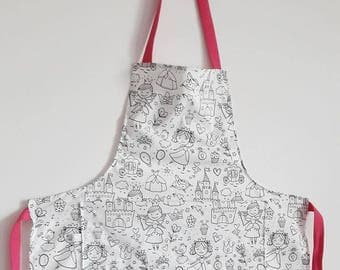 Adult - size apron coloring - choose Indian, Princess or Navy fabric