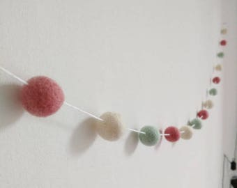 blush pink, mint and white feltball garland, home, nursery decoration, girls bedroom decoration, pastel, gift, pompom, bunting, new home