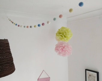 Pretty pastels felt ball garland - felted pom-pom decoration. Pastel, colours, party, pretty nursery, home, photo prop, hygge play
