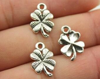20 pcs Four Leaf Clover Charm, Silver Pendant - PD028