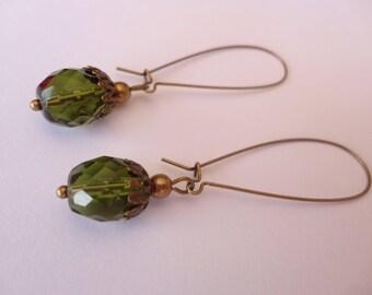 Earrings minimalist Bohemian bronze and green olivine