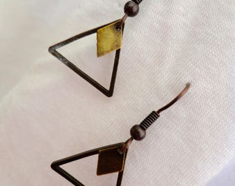 Earrings minimalist triangles bronze sequins diamonds
