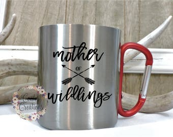 Carabiner mug//unqiue mug//stainless steel mug/mother of wildings mug//camping mug//himjng mug//carabiner handle//mothers day gift