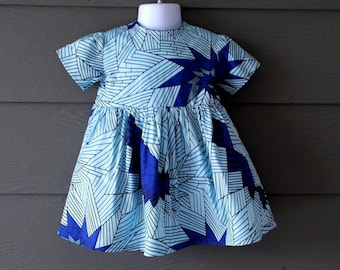 Blue GreyAbstract African Wax Print Toddler Dress