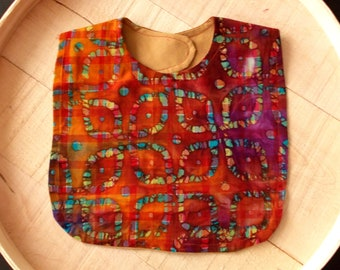 Indian Batik Kaleidoscope Diamond Orange /Purple and Maroon Print Infant Bib