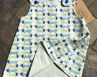 6-9 months Reversible Green/Blue dress with cute dogs ONE left in this size