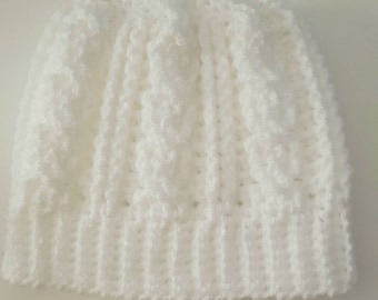 Toddler messy bun hat, Toddler hat, crochet bun hat, messy bun hat, white hat, winter hat, girls hat, cable stitch hat, Toddler gift