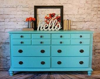 Painted Dresser, Refinished Furniture, Teal Dresser, Painted Furniture, Hand-Painted, Farmhouse Dresser, Distressed Dresser, nursery dresser