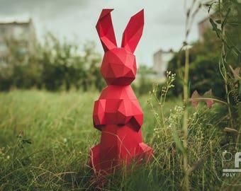 Bunny Papercraft, Rabbit Origami, DIY Easter, Bunny Origami, DIY Paper Rabbit, Lowpoly Banny