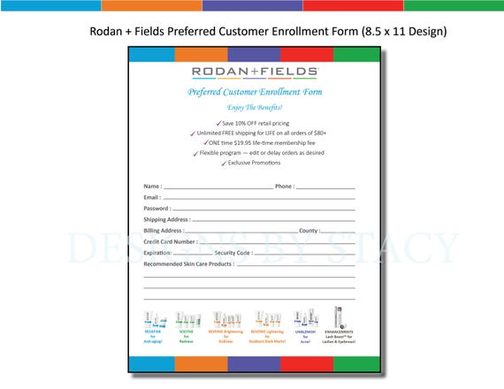 Rodan and Fields Preferred Customer Enrollment Form 8.5 x 11
