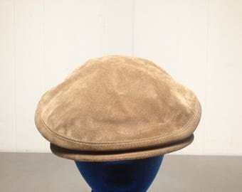 Vintage 90's Leather LL Bean Newsboy Cabbie Hat Made In USA Size XL Fitted Freeport Maine Union Made