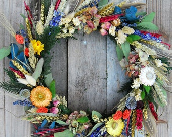 Dried flower wreath, floral wreath, year round wreath, door wreath, natural wreath, dried floral wreath, indoor wreath, dried flowers, boho