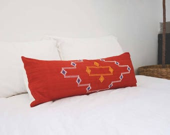 Moroccan Extra Long Lumbar Pillow - Red #1 -14X36
