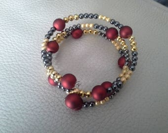 Red and gold memory Wire Bracelet