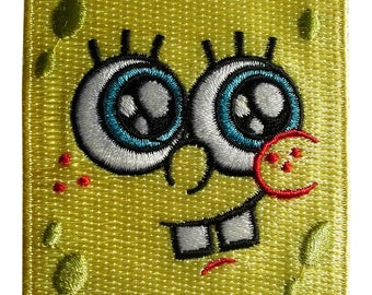 Patch / patch - SpongeBob SquarePants face kids - yellow - 6, 5 x 6, 4 cm - patch application applications to the iron application patches patch