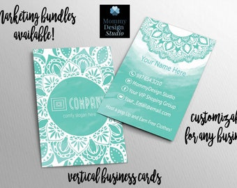Teal WaterColor Mandala Business Card - HO Approved - caught in the wild card - legging - Customizable for your business - bundles available