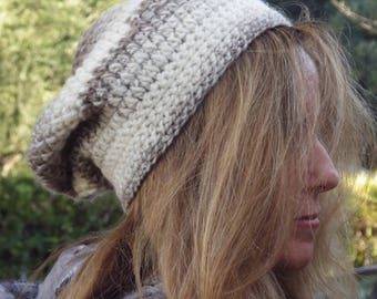 Creme and Beige Slouchy Beanie