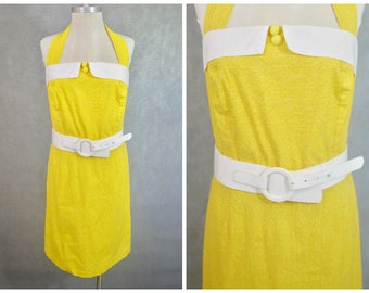 Vintage Yellow Halterneck Dress | Size 16 Vintage Dress | Plus Size Vintage Dress