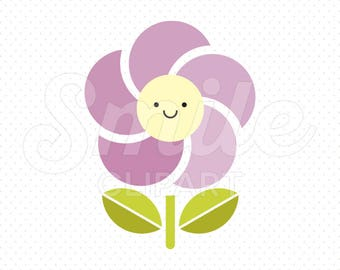 HAPPY PURPLE FLOWER Clipart Illustration for Commercial Use | 0032