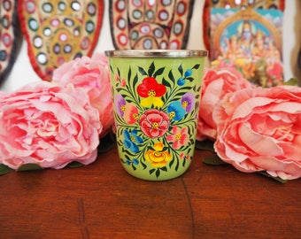 Hand Painted Kashmir Enamelware Gypsy Hippie Shabby Chic Floral Glamping Chai Picnic Tumbler Cup