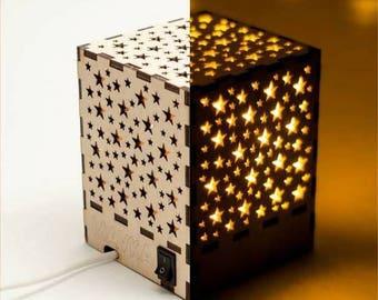 Lantern Light, Lantern Night Lights, Lantern Stars Lamp, Wooden Present Lamp, Lightbox Decorative Lamp, Home Living Decor, Plywood Lamp