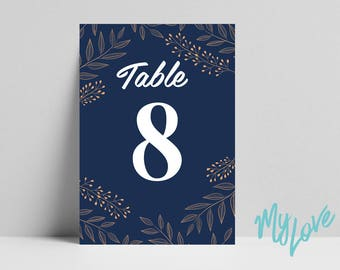 Wedding Breakfast Table Numbers. Printed table numbers, Party table decor, Wedding table names, Table cards Navy A3 A4 size print