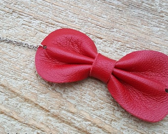 Red leather bow bracelet size adult or child