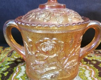 Imperial Glass Sugar Bowl / Lustre Rose Marigold Carnival Glass Dish with Lid