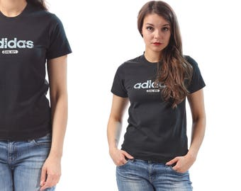 Womens Adidas T-Shirt Vintage Adidas Spellout Tee Black 90s T-shirt Adidas Sports Top Normcore Streetwear Running Shirt  Small