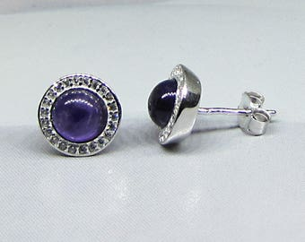 925 sterling silver studs and natural Amethyst earrings