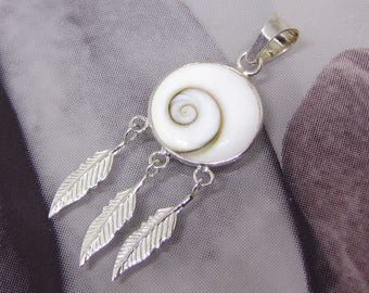 """""""Feathers"""" Shiva eye and Sterling Silver Pendant"""