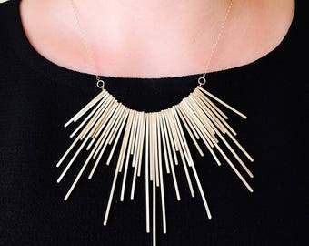 Geometric 14k Gold Filled Statement Necklace. Handmade