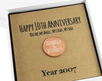 Personalised Happy 10th Anniversary Keepsake Gift, Lucky Penny Gift