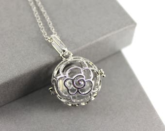 Rose Flower Locket with Fillable Glass Orb, Memorial Jewellery, Urn Locket, Cremation Jewelry, Fillable Jewelry, Cremation Necklace