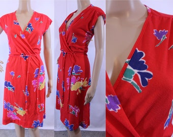 70s vintage red faux wrap dress with multicolored flowers size medium - large