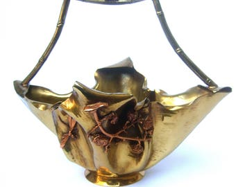 Avant Garde Mixed Metal Hand Forged Decorative Artisan Basket